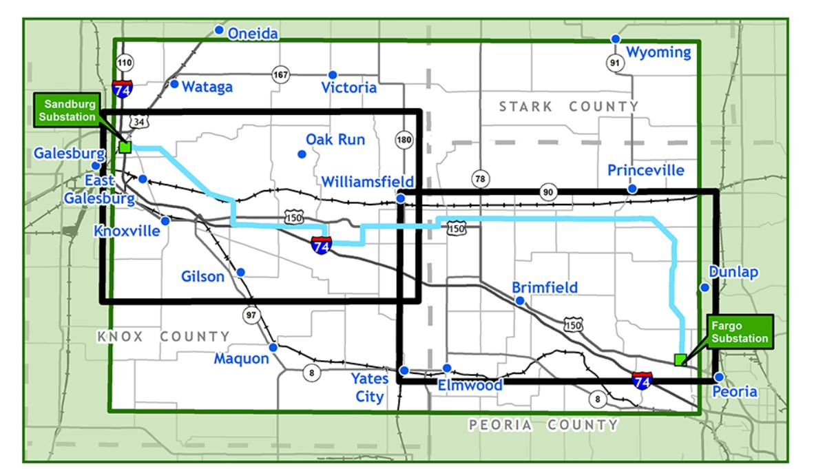 Overview map of Spoon River Transmission Line - Knox and Peoria Counties