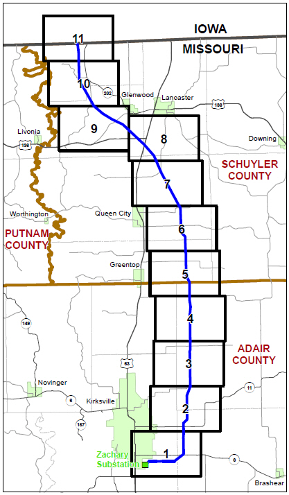 Mark Twain Transmission Route from Iowa to Kirksville